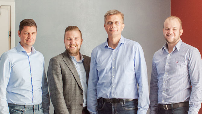 Gruppenfoto mit Patrick Müller, Michael Hauser, Stefan Tasch und Michael Paukowits